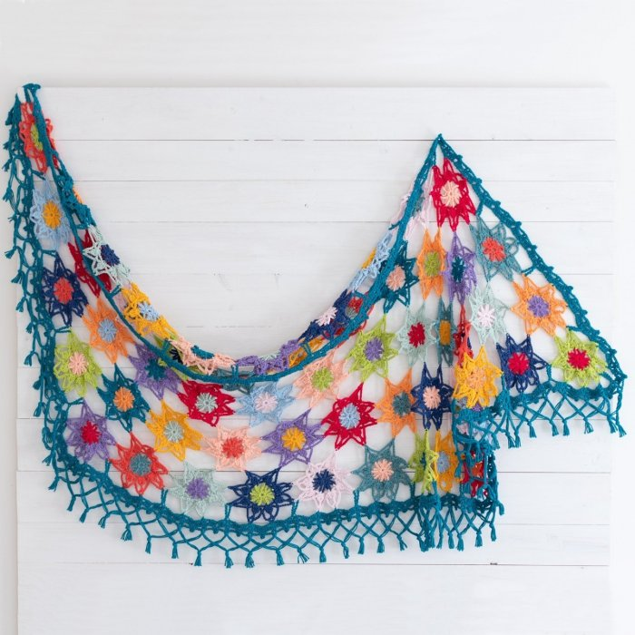Colourful Flower Shawl